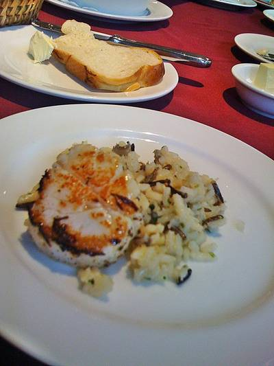  Seared Pacific Scallop on Pilaf Wild Rice   Chesa Swiss Restaurant