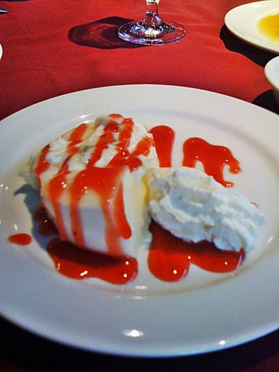 Pana Cotta with Raspberry Sauce   Chesa Swiss Restaurant