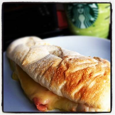 Ham&Cheddar Ciabatta with Green Tea! ที่ ร้านอาหาร Starbucks