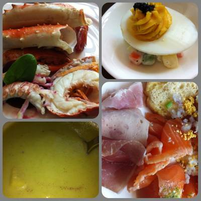 Lentil soup, Alaska King Crab, Maine Lobster, Salmon, Cold cut ที่ ร้านอาหาร Brasserie Europa Siam Kempinski Hotel Siam Kempinski Hotel