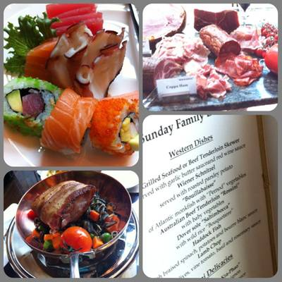 Sashimi, sushi, Dover sole with wild rice, menu, cold cut ham ที่ ร้านอาหาร Brasserie Europa Siam Kempinski Hotel Siam Kempinski Hotel