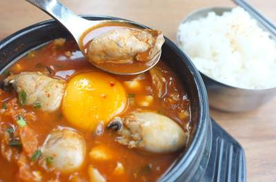Japanese Oyster Soondubu Soup ()   BonChon Chicken Central World