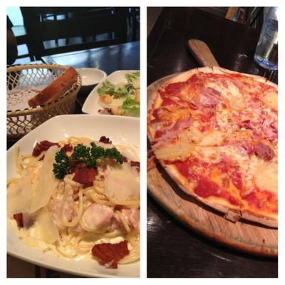 Carbonara (160B), Caesar Salad (140B), Pizza Hawaii (180B) and free bread…yummy! ที่ ร้านอาหาร Wine Connection Deli & Bistro K-Village