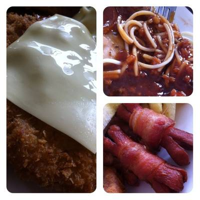 Fish steak, spaghetti, bacon&amp;sausage     ( )