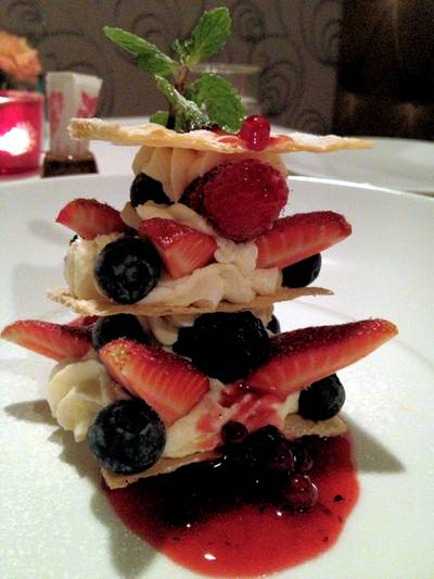 mille feuille strawberries ที่ ร้านอาหาร Bliss Contemporary Cuisine