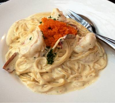 Ebiko Cream Spaghetti (250 Baht)   Wine Republic Thonglor