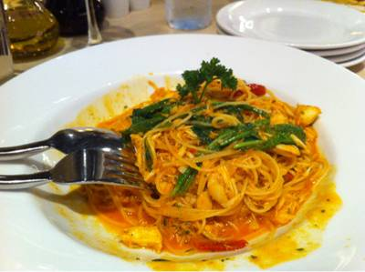 angle hair with crab and tomato   Amici by Pomodoro