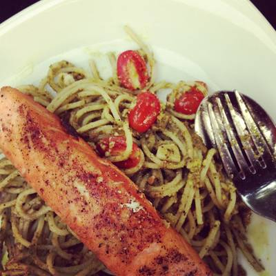 pasta with pesto sauce &amp; salmon steak   The Attitude Wine bistro &amp; Bar