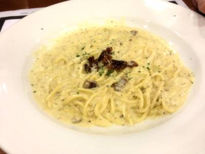 Spaghetti Carbonara    The Village Garden Restaurant