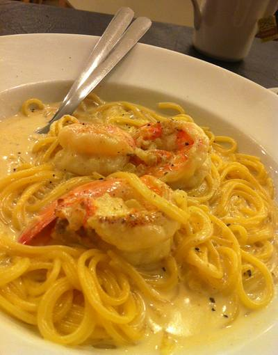 Spaghetti w/ Prawn and Aspagus Cream Sauce @194 ที่ ร้านอาหาร HAP de NOUS The Promenade